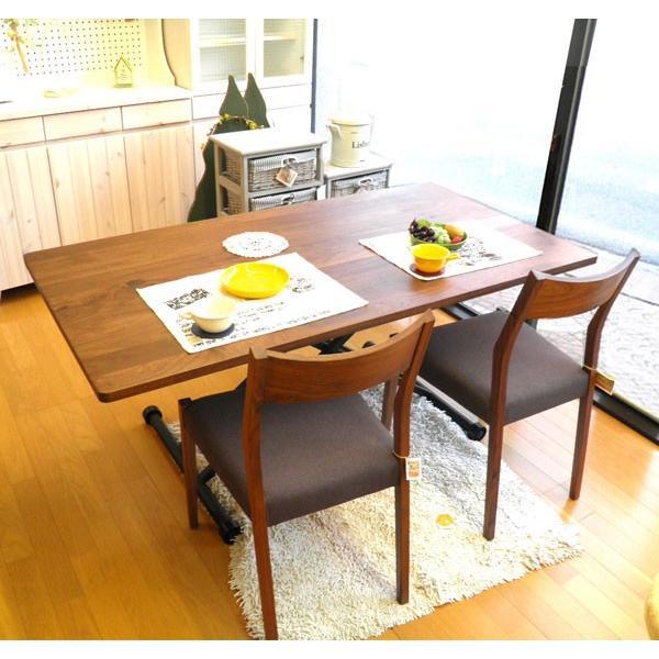 今なら送料無料。ウォールナット材の素材感溢れる国産150cm幅昇降テーブル