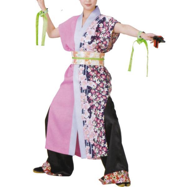 おどり袢天 ピンク/紫 花柄 B460【よさこい/踊り衣裳/祭用品/お祭り/祭り小物】<br>【はっぴ・はんてん・半被・袢纏】