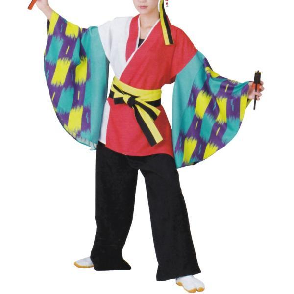 おどり袢天 白/赤 水色/紫袖 B470【よさこい/踊り衣裳/祭用品/お祭り/祭り小物】<br>【はっぴ・はんてん・半被・袢纏】