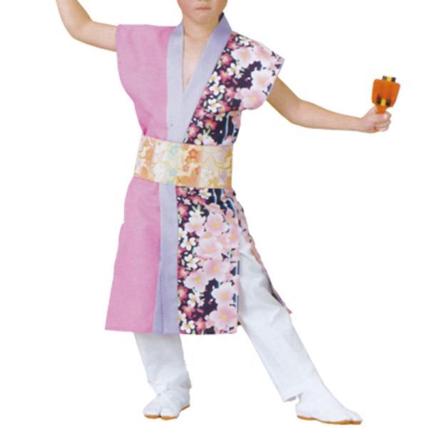 おどり子供袢天 ピンク/紫 花柄 B456Jr.S・M・Lサイズ【よさこい/踊り衣裳/祭用品/お祭り/祭り小物】<br>【はっぴ・はんてん・半被・袢纏】