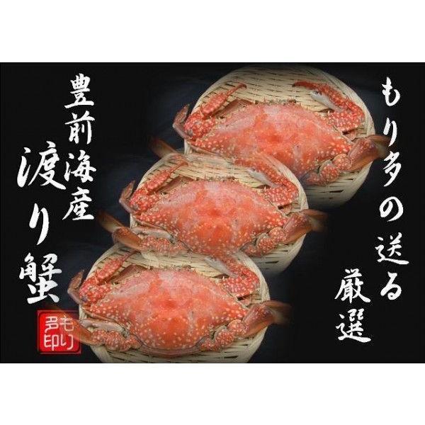 ワタリガニ 豊前海産 (渡り蟹)メス塩ゆで冷凍3尾(活き状態1尾300g〜399g)
