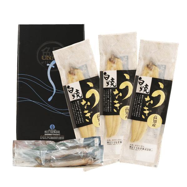 四万十うなぎ白焼き3本と天然アユ2匹セット ・白焼き真空パック (1本あたり約120g有頭)3 ・山椒付きミニたれ 3 ・四万十川の天然アユ 2 ・四万十のお茶 (500ml)1