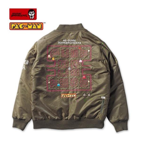 PUNKDRUNKERS x PACMAN PAC-MA-1 KAHKI パックマン パンクドランカーズ リバーシブル|moshpunx|02