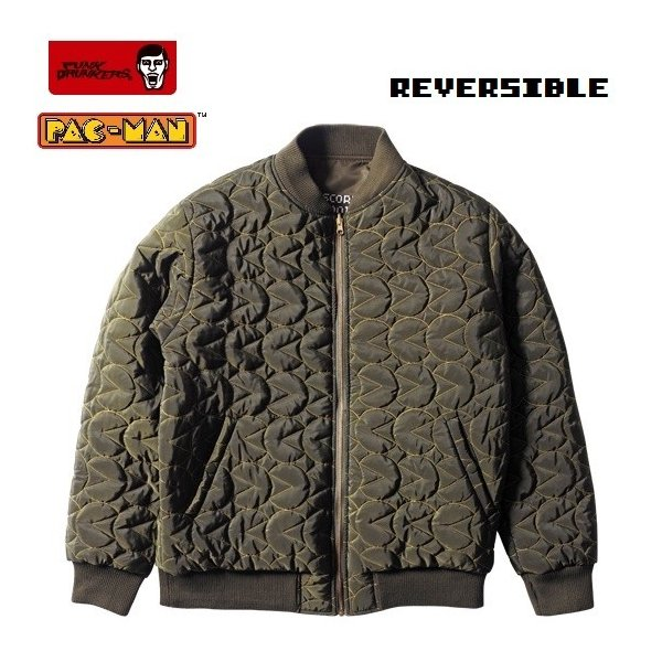 PUNKDRUNKERS x PACMAN PAC-MA-1 KAHKI パックマン パンクドランカーズ リバーシブル|moshpunx|03