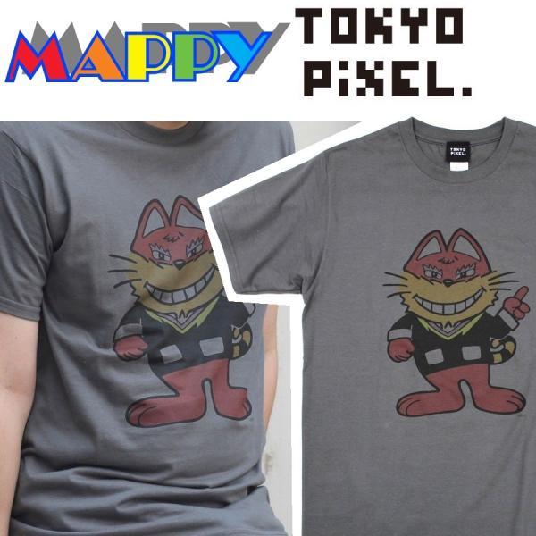 TOKYO PIXEL × マッピー ニャームコ Tシャツ チャコール ナムコ  |moshpunx