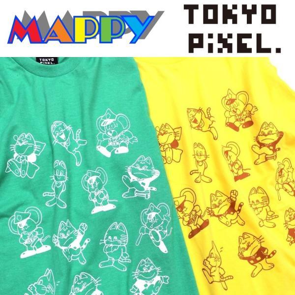 TOKYO PIXEL × マッピー 総柄 Tシャツ グリーン イエロー ナムコ  |moshpunx