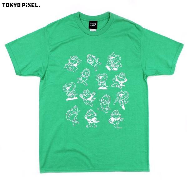TOKYO PIXEL × マッピー 総柄 Tシャツ グリーン イエロー ナムコ  |moshpunx|02
