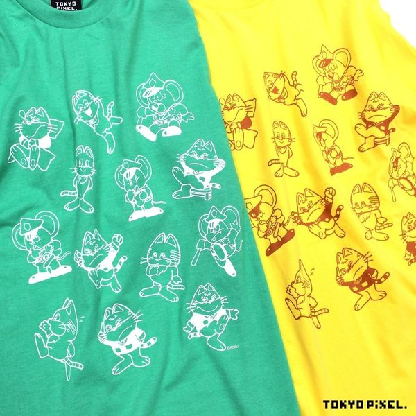 TOKYO PIXEL × マッピー 総柄 Tシャツ グリーン イエロー ナムコ  |moshpunx|03