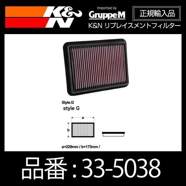K&N リプレイスメントフィルター MAZDA デミオ(DJ系)1.5D/T,1.3F/I、CX-3(DK5系)1.5D/T、アクセラ(BM5系)1.5F/I用〔33-5038〕|mostprice