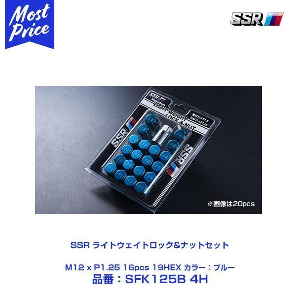 SSR ライトウェイトロック&ナットセット ブルー M12 x P1.25 16PCS 19HEX 〔SFK125B 4H〕