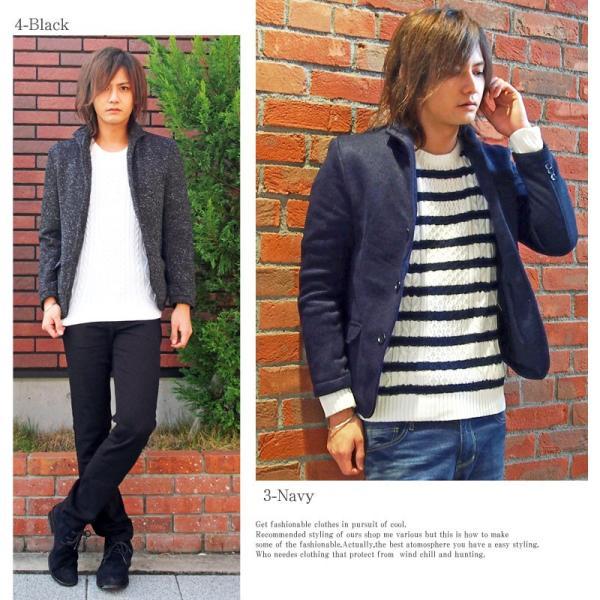 テーラードジャケット メンズ イタリアンカラー 裏起毛 ニットフリース コート ニットジャケット 無地  衿|mostshop|03