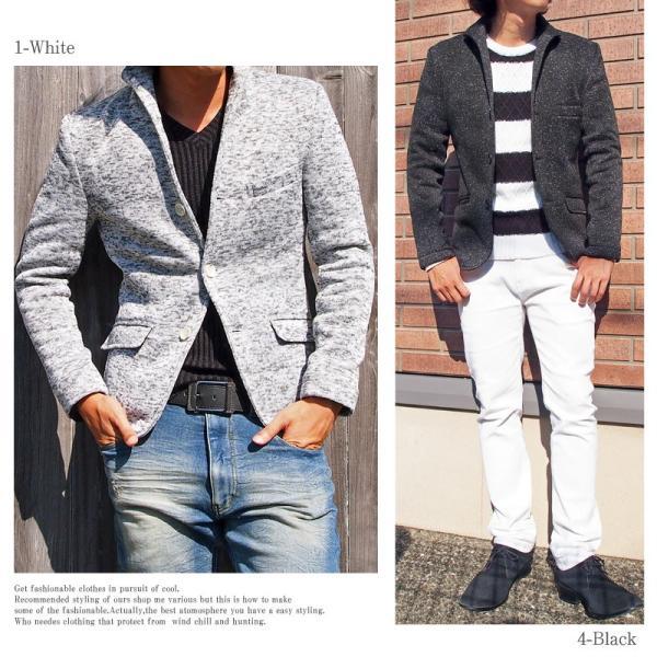 テーラードジャケット メンズ イタリアンカラー 裏起毛 ニットフリース コート ニットジャケット 無地  衿|mostshop|04