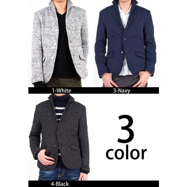 テーラードジャケット メンズ イタリアンカラー 裏起毛 ニットフリース コート ニットジャケット 無地  衿|mostshop|05