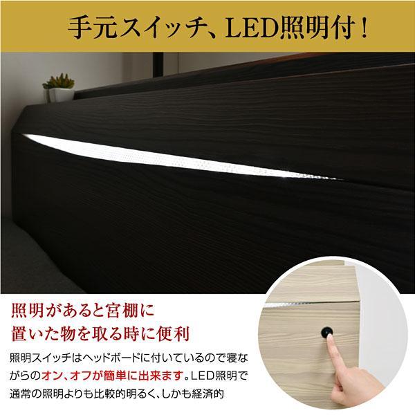 レビューで1年補償 ベッド (収納 収納つき) 宮付き ベット シングルベッド プライドZ(PRIDEZ)/ボンネルコイルマットレス付き-ART 収納ベッド 収納付き LED照明|mote-kagu|11