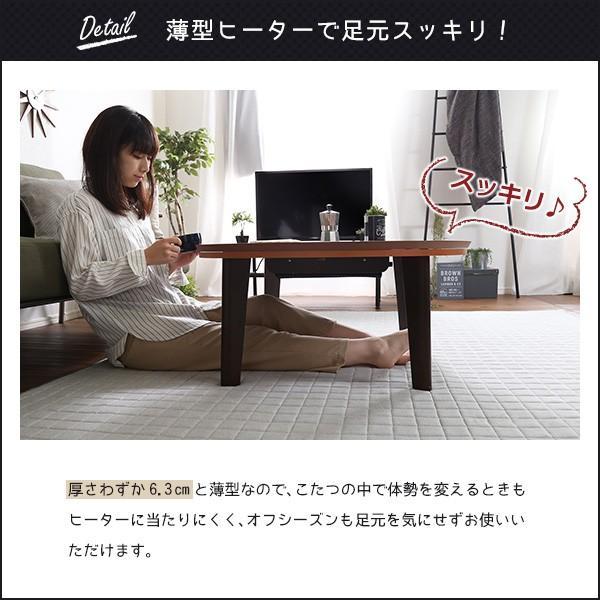 ウォールナットの天然木化粧板こたつテーブル日本メーカー製|Mill-ミル-(80cm幅・丸型)
