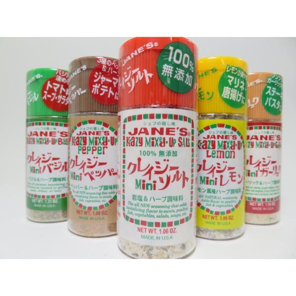クレイジーソルト ミニボトル 5種類セット(ソルト バジル ペッパー レモン ガーリック)|mothership0823
