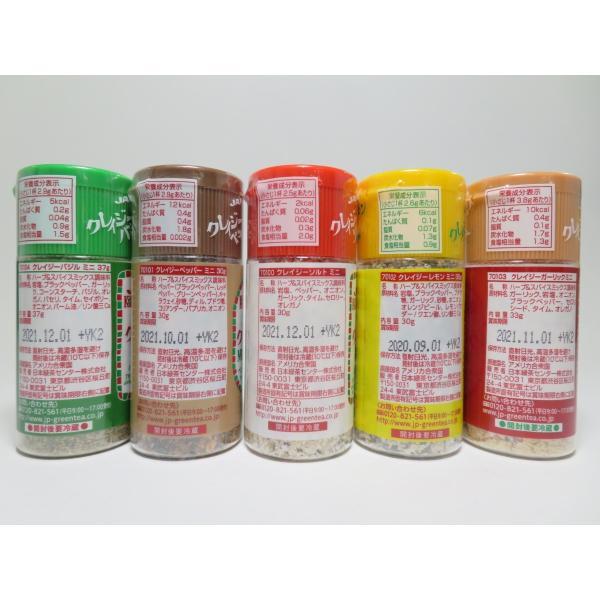 クレイジーソルト ミニボトル 5種類セット(ソルト バジル ペッパー レモン ガーリック)|mothership0823|02