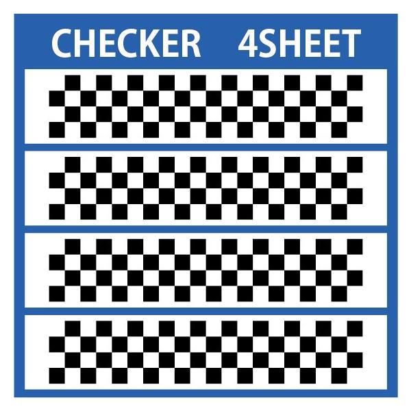 切り文字ステッカー   色変更OK CHECKER  4SHEET  カッティングシート・シール・デカール|motologo