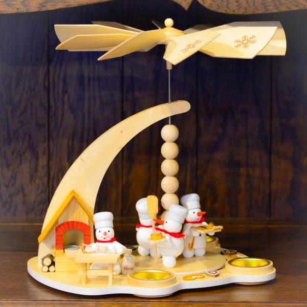 ドイツ木工芸品 ウィンドミル スノーマンベーカリー パン屋さん|motomachi-takenaka|02