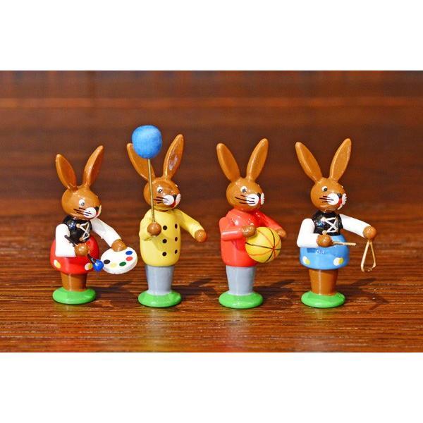 ドイツ木工芸品 イースターを楽しむウサギの子供達 イースター|motomachi-takenaka|03