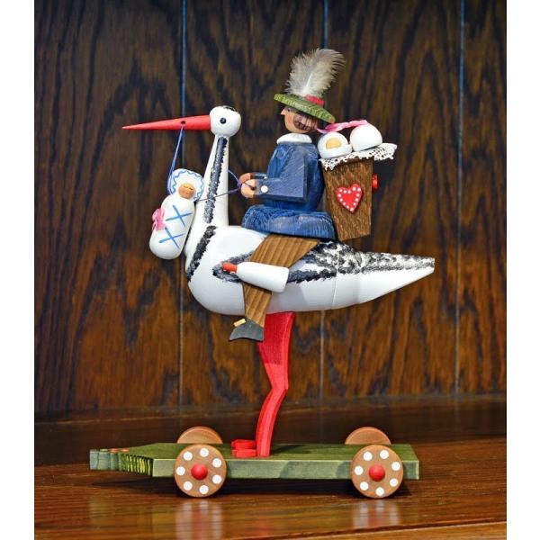 ドイツ木工芸品 コウノトリに乗る使者 大|motomachi-takenaka|02