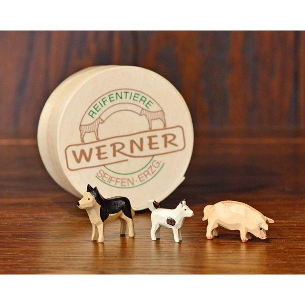 ドイツ木工芸品 仲良しな動物達 7種類 わっぱ入り 馬 牛 ヤギ 羊 ブタ 犬|motomachi-takenaka|04