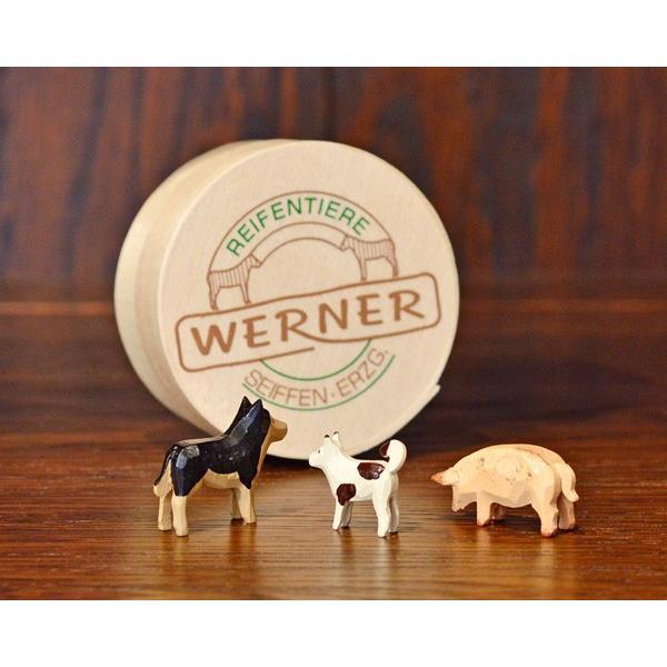 ドイツ木工芸品 仲良しな動物達 7種類 わっぱ入り 馬 牛 ヤギ 羊 ブタ 犬|motomachi-takenaka|05