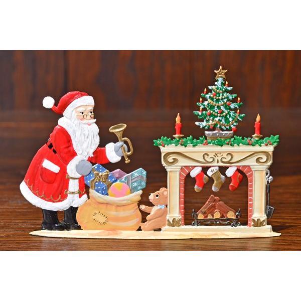 ドイツ錫(すず)飾り・サンタクロース 暖炉 プレゼント ツリー|motomachi-takenaka