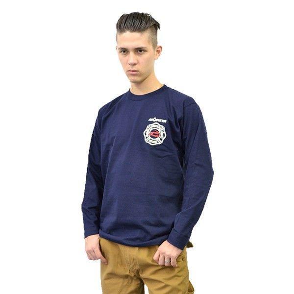 プリントロゴT モリタ×レスキュースクワッド ロングスリーブTシャツ type7 ネイビー(メンズ 長袖 ロンt プリント 柄 tシャツ 服)(まとめ買いで送料無料)|motormagazine