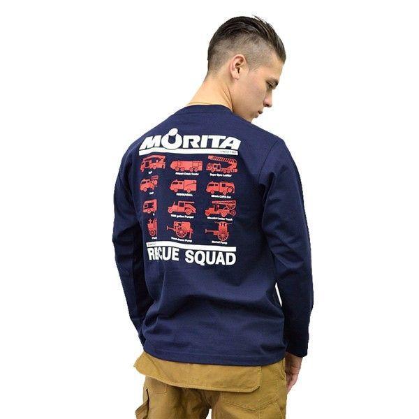プリントロゴT モリタ×レスキュースクワッド ロングスリーブTシャツ type7 ネイビー(メンズ 長袖 ロンt プリント 柄 tシャツ 服)(まとめ買いで送料無料)|motormagazine|02