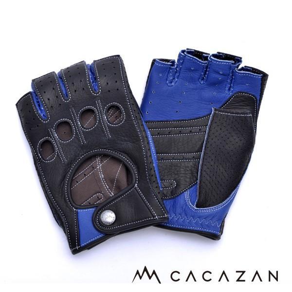 カカザン(CACAZAN)ドライビンググローブ DDR-071R ブラック × ブルー(メンズ グローブ ブランド 革 車用 半指)(送料無料)|motormagazine