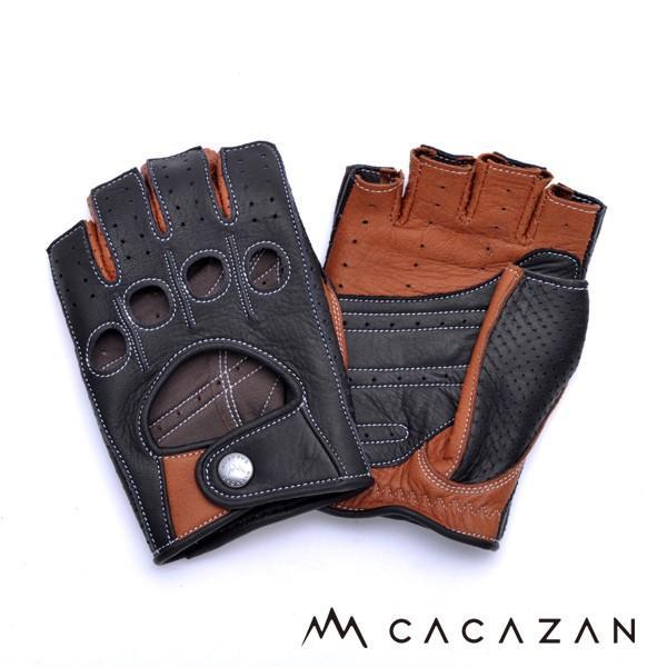カカザン(CACAZAN)ドライビンググローブ DDR-071R ブラック × キャラメル(メンズ グローブ ブランド 革 車用 半指)(送料無料) motormagazine