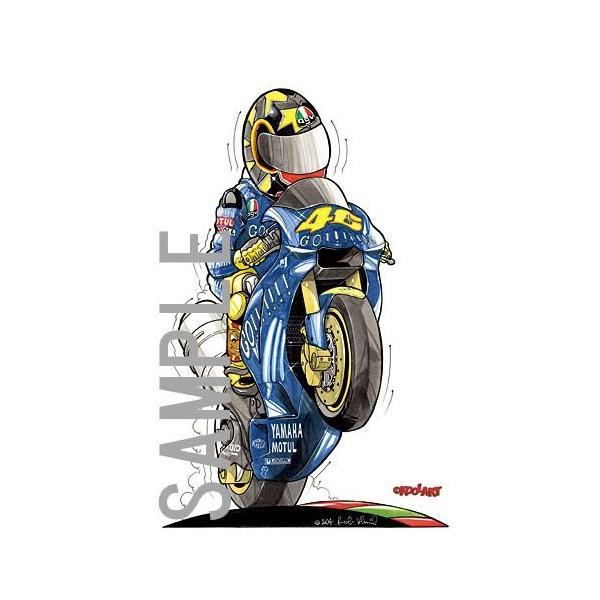 イラスト ロッシ MotoGP(2004・右向き)|motorparade|02