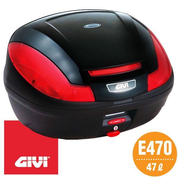 GIVI E470 テールボックス(トップケース) 47L ブラック塗装 68058 モノロックタイプ(汎用ベース付属)