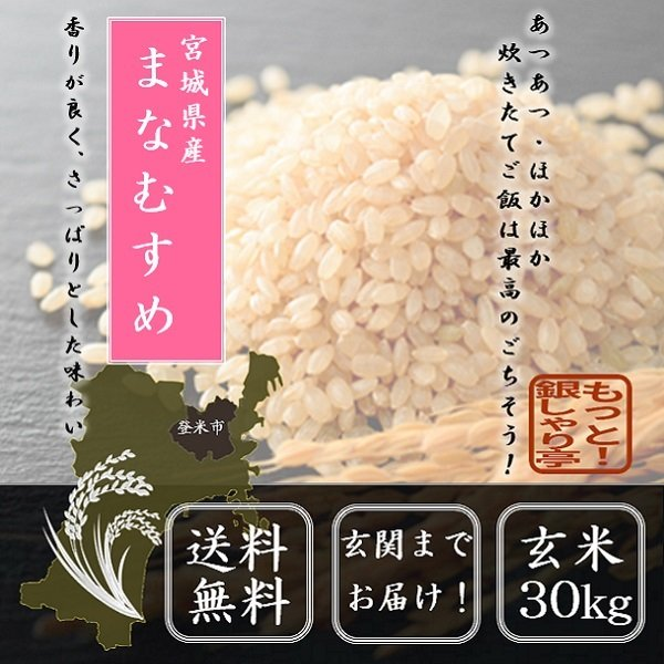 令和2年産 宮城県産まなむすめ玄米30kg お米 送料無料 宮城県産