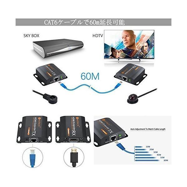 Neoteck HDMI延長器 HDMIエクステンダー IRケープル付き 60m 1080P CAT6 Cat7 電源アダプタ付き 18ヶ月保証期間