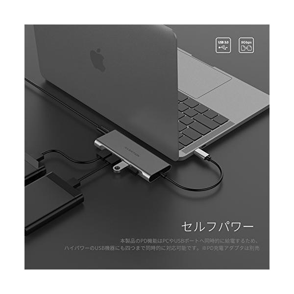LENTION 4ポートUSB-C ハブ Digital AV Multiportアダプタ 4in1機能拡張 4K HDMI PD充電機能 USB-