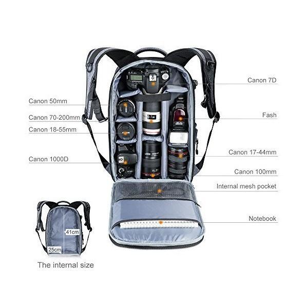 カメラリュック K&F Concept カメラバッグ 一眼レフ 大容量 防水 おしゃれ ミラーレス 一眼レフ用 レインカバー 三脚取付可