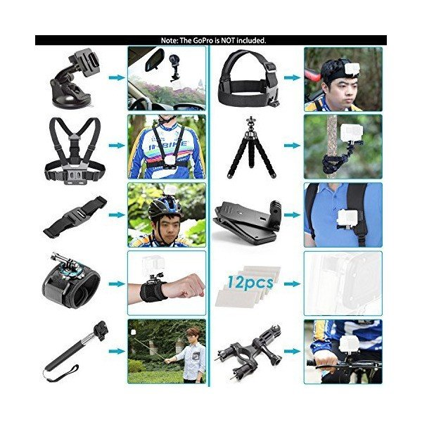 Neewer GoPro Hero 5用60-in-1アクションカメラアクセサリー セット内容:ヘッドストラップ、胸部ストラップ、手首ストラップ、自