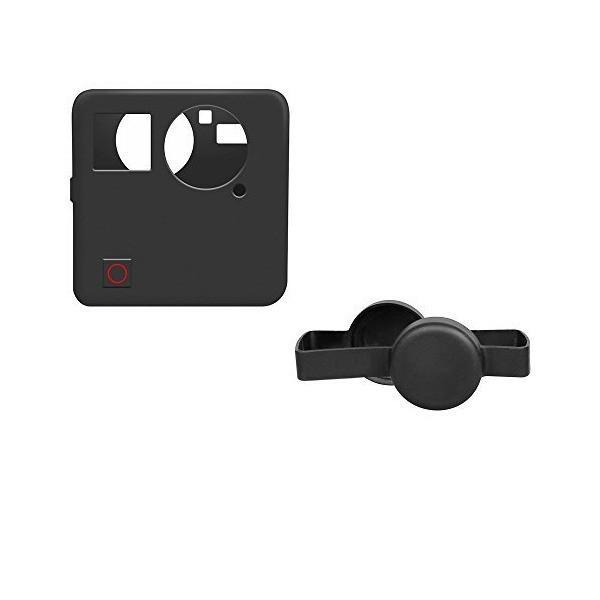 Gopro Fusion対応 レンズ保護キャップ+カメラボデイー防振防塵カバーの二点お得セット 怪我防止 シリコン製  (CAP+COVER)