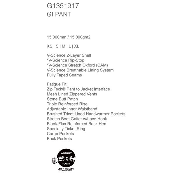 スノーボード ウエア ウェアー メンズ 18/19 SNOW VOLCOM ボルコム GI PANT ジーアイパンツ|move-select|03