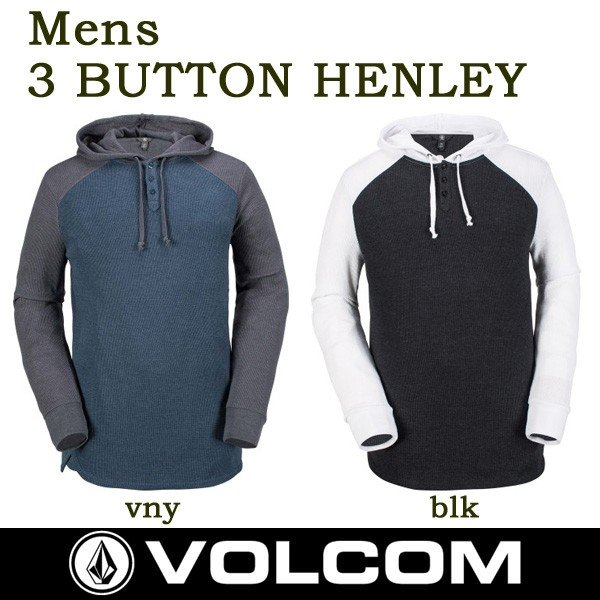 Volcom Mens 3 Button Henley