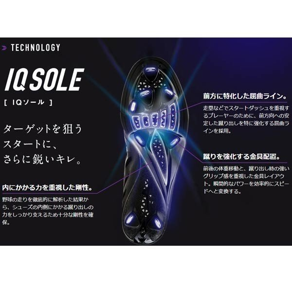 野球 スパイク 金具 ウレタンソール 埋め込み式 一般 ミズノ MIZUNO ハイスト IQ ブラック/ブラック spk-sl move 02
