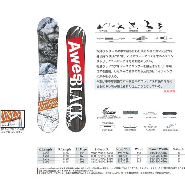 スノーボード 板 ツイン フリースタイル パーク グラトリ 18-19 MOSS モス TOTO BK SF トトブラックエスエフ move 06