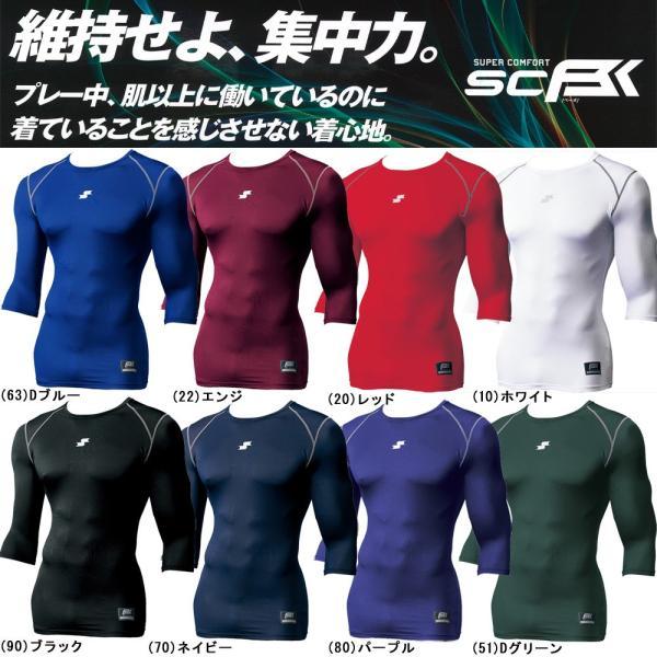 野球 SSK エスエスケイ 一般用フィットアンダーシャツ SCB ローネック 丸首 七分袖|move|02