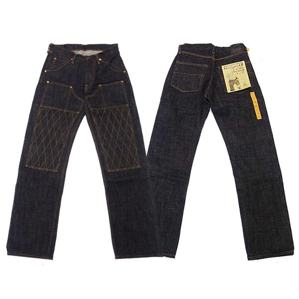TROPHY CLOTHING トロフィークロージング  ジーンズ 1606BK W KNEE STANDARD BLACK DIRT DENIM|moveclothing