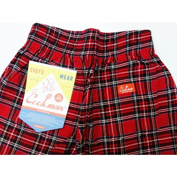 COOKMAN クックマン パンツ シェフパンツ Chef Pants Corduroy Tartan 【RED】|moveclothing|04