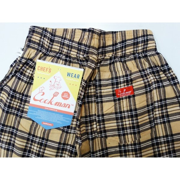 COOKMAN クックマン パンツ シェフパンツ Chef Pants Corduroy Tartan 【BEIGE】|moveclothing|04