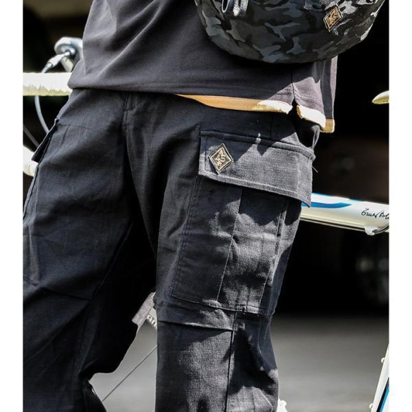 パンツ カーゴ ストレート 「綿麻 プリペラ ストレッチ」 ウエスト 調節 ストラップ付 メンズ  OAR'S|mr-lunberjack|08