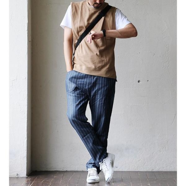 ガーデンパンツ 紐 ゴム ストライプ デニム リヨセル コットン 家庭洗濯 カジュアル ブルーストライプ インディゴストライプ メンズ  grn|mr-lunberjack|04
